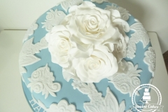 Lace and Rose Anniversary Cake